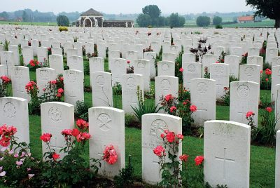 Tyne Cot Cemetery of the First World War in Passendaele (Flanders Fields), Belgium
