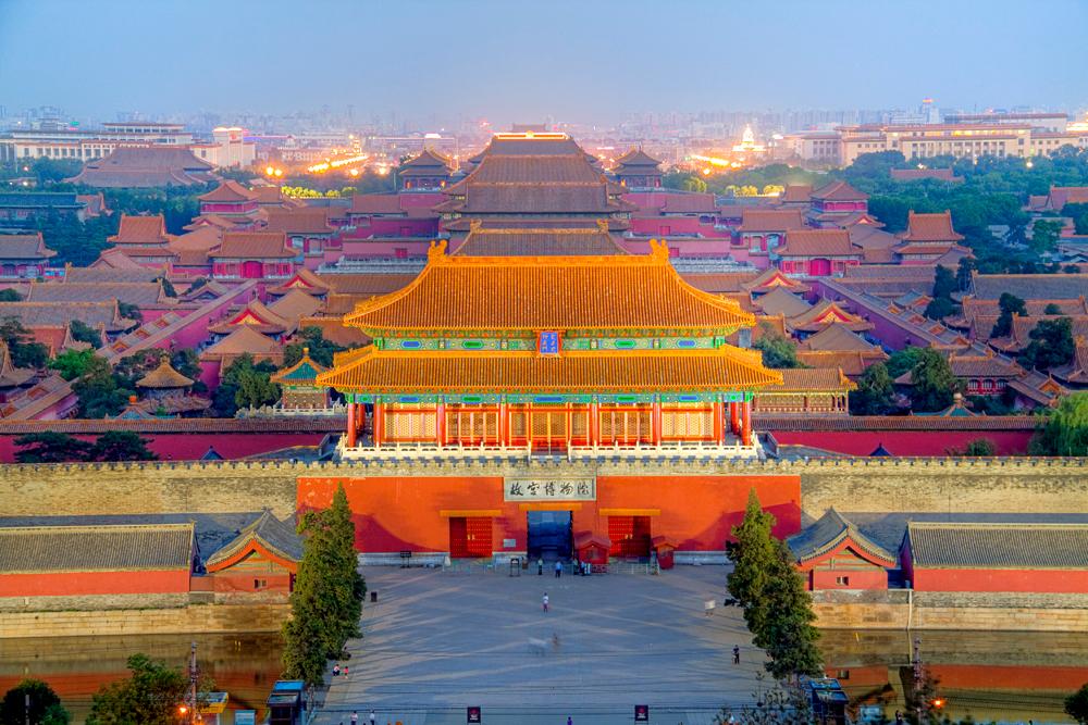 View of Forbidden City from Jinshan Park, Beijing, China