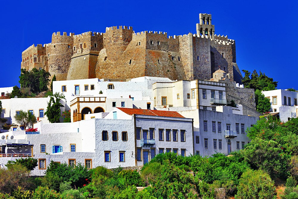View of Monastery of St John in Patmos Island, Greece