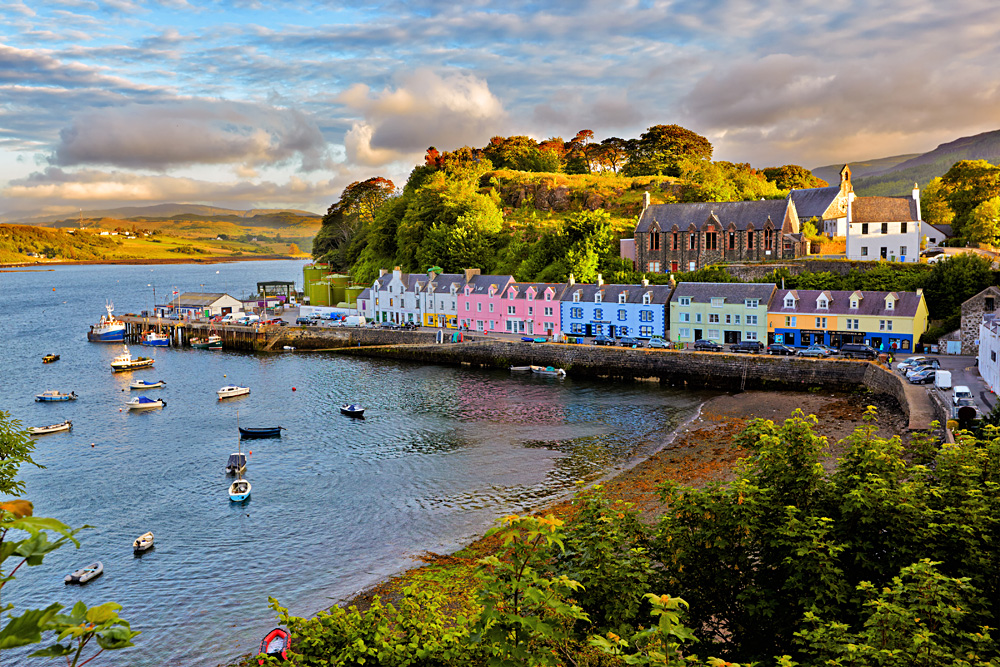 View of Portree before sunset, Isle of Skye, Scotland, UK (United Kingdom)