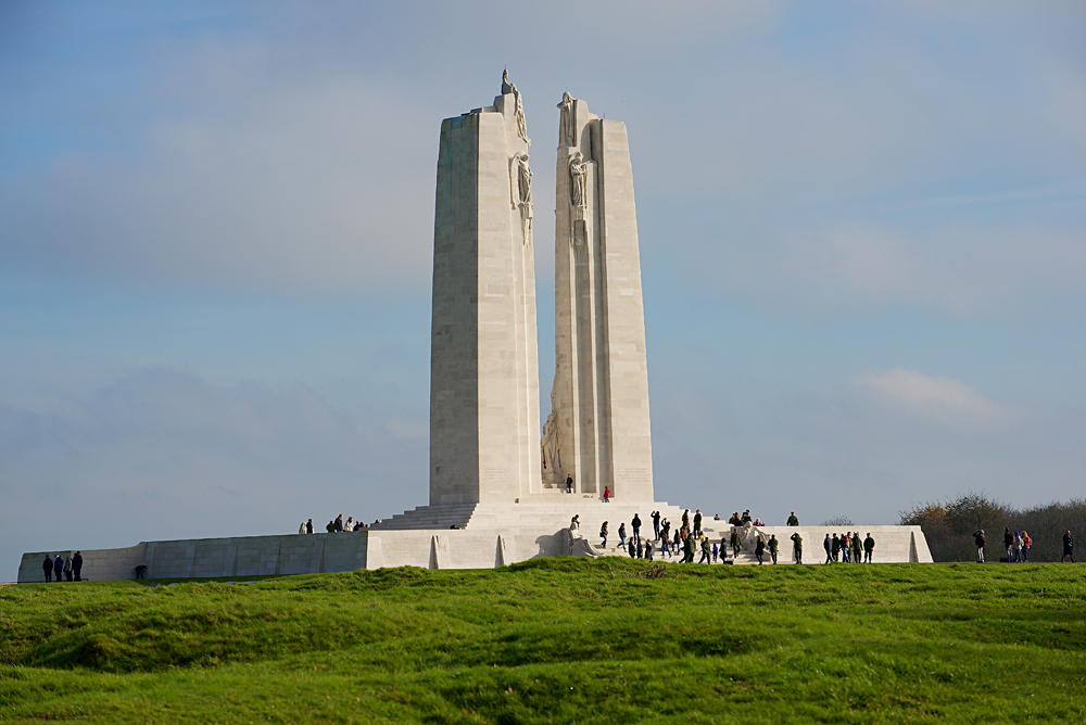Visitors Walking around the The Canadian National Vimy Monument at Vimy Ridge, France