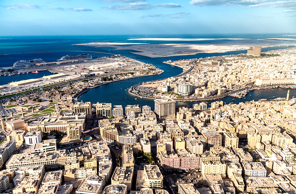 Aerial View of Dubai Creek, Bur Dubai and Deira, United Arab Emirates (UAE)