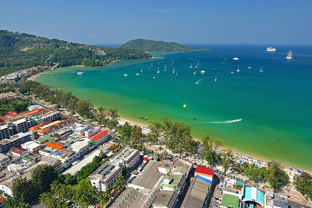Aerial View of Patong Beach, Phuket, Thailand