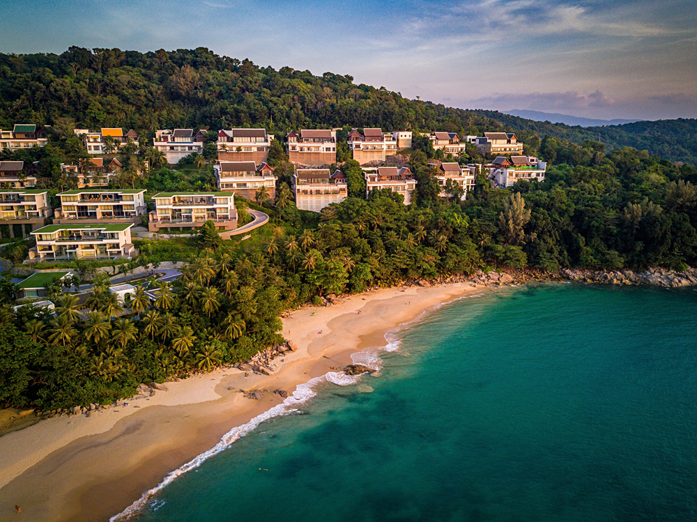 Aerial View of Surin Beach in Phuket, Thailand