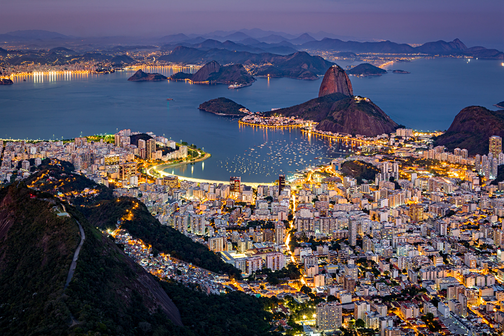 Aerial view over Rio de Janeiro at Night as viewed from Corcovado, Brazil