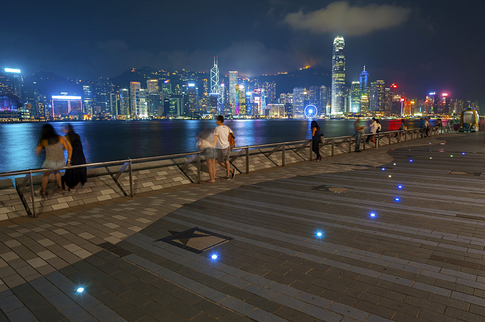 Avenue of the Stars Walkway with View of Hong Kong Skyline at Night, Tsim Tsa Tsui, Hong Kong