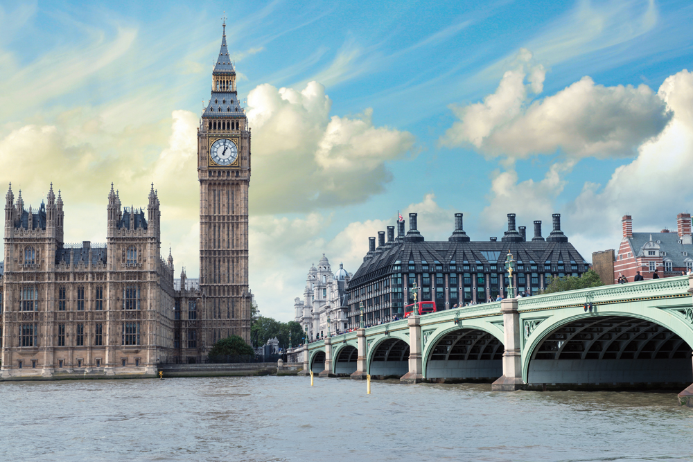 Big Ben, Houses of Parliament, and Westminster Bridge in London, England, UK (United Kingdom)