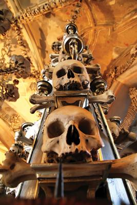 Bone Sculpture at Sedlec Ossuary, Kutna Hora (near Prague), Czech Republic