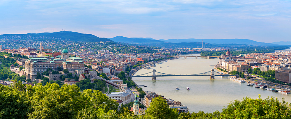 Budapest panorama city skyline taken from Gellert Hill, Budapest, Hungary