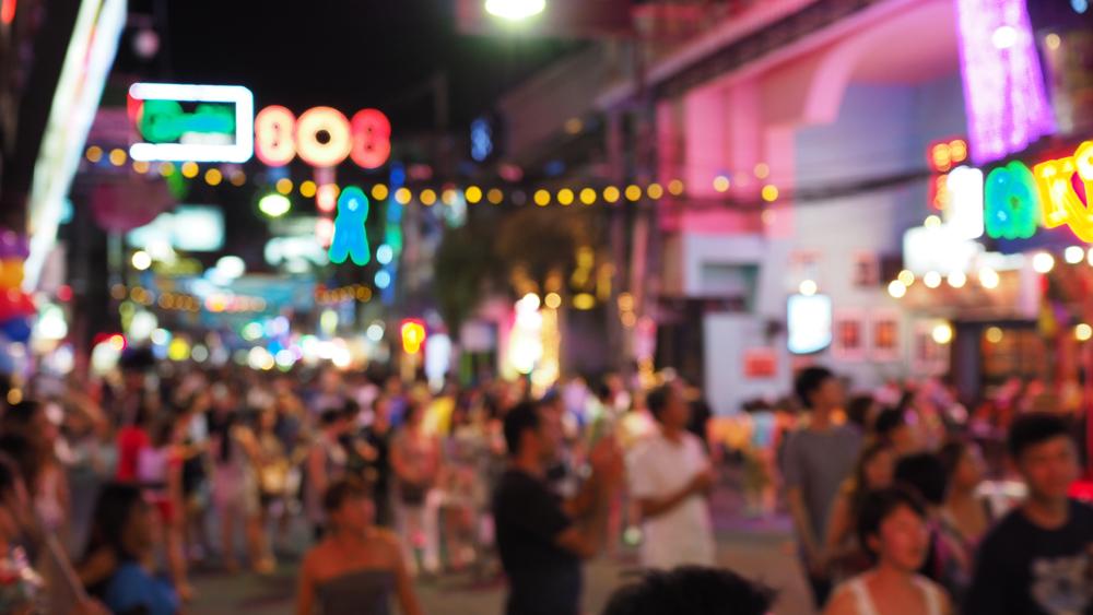 Bustling Blur of Crowds on Walking Street in Pattaya, Thailand