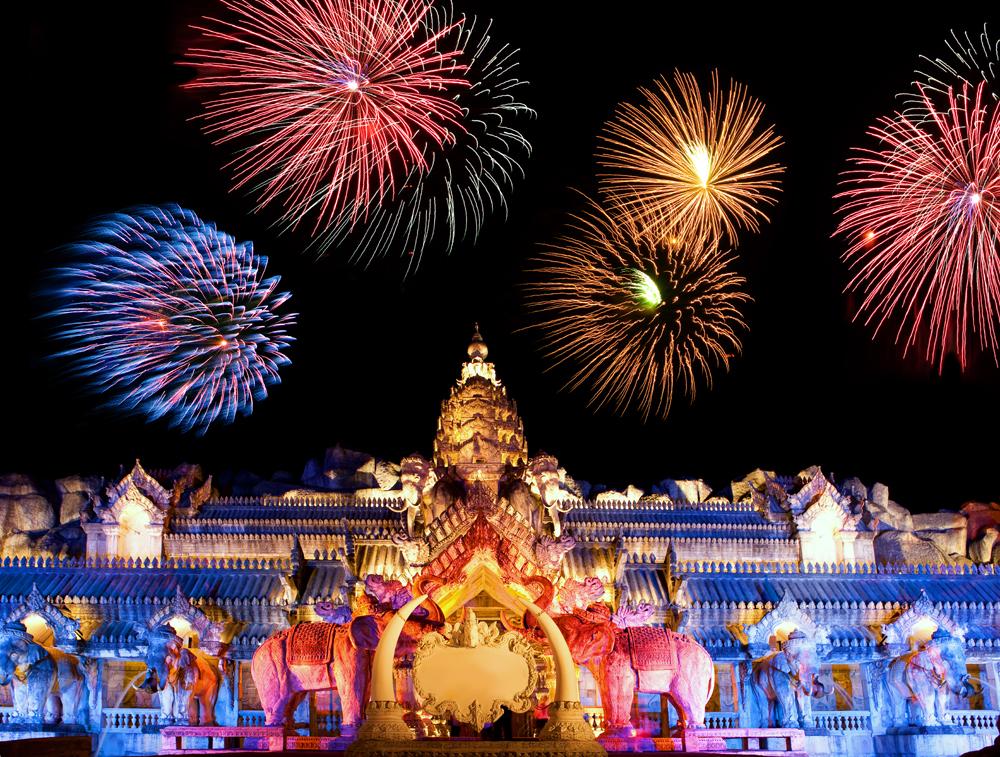 Fireworks at Palace of the Elephants at Phuket FantaSea, Phuket, Thailand