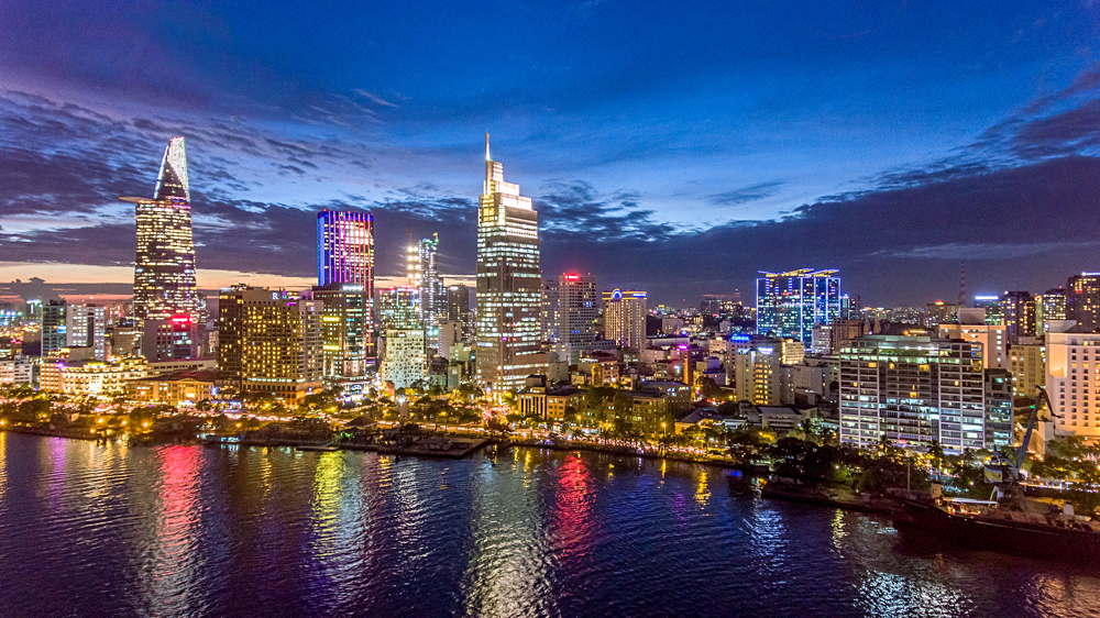 Ho Chi Minh City view at night, Vietnam
