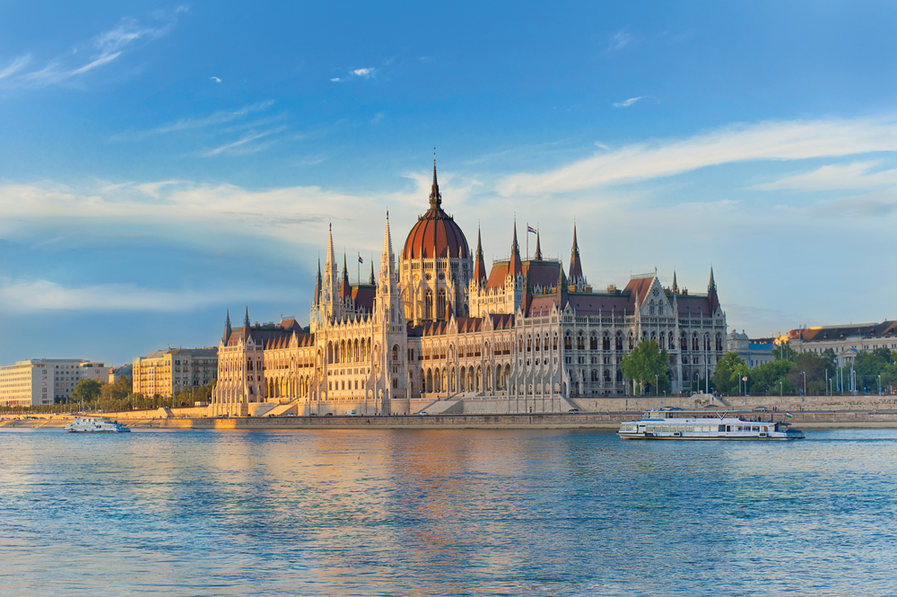Hungarian Parliament Building at Sunset, Budapest, Hungary