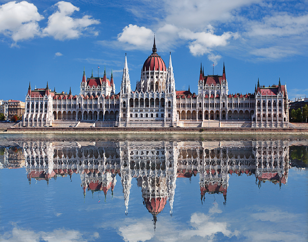 Hungarian Parliament Building in Budapest with Reflection in Danube River, Hungary
