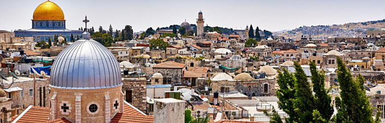 Jerusalem panoramic roof view to christians, jewish and muslims sacred places, Jerusalem, Israel