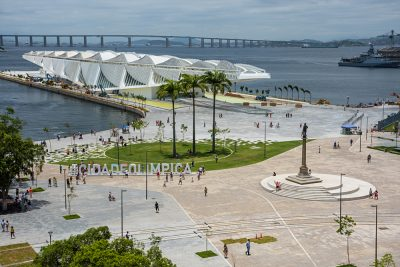 Maua Square and Museum of Tomorrow seen from terrace of MAR (Rio's Art Museum) in Rio de Janeiro, Brazil