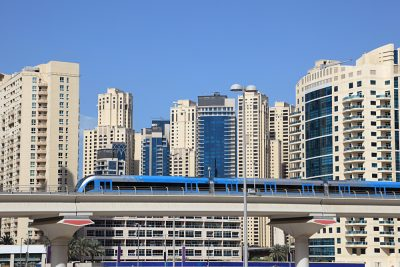 Metro train downtown in Dubai, United Arab Emirates (UAE)
