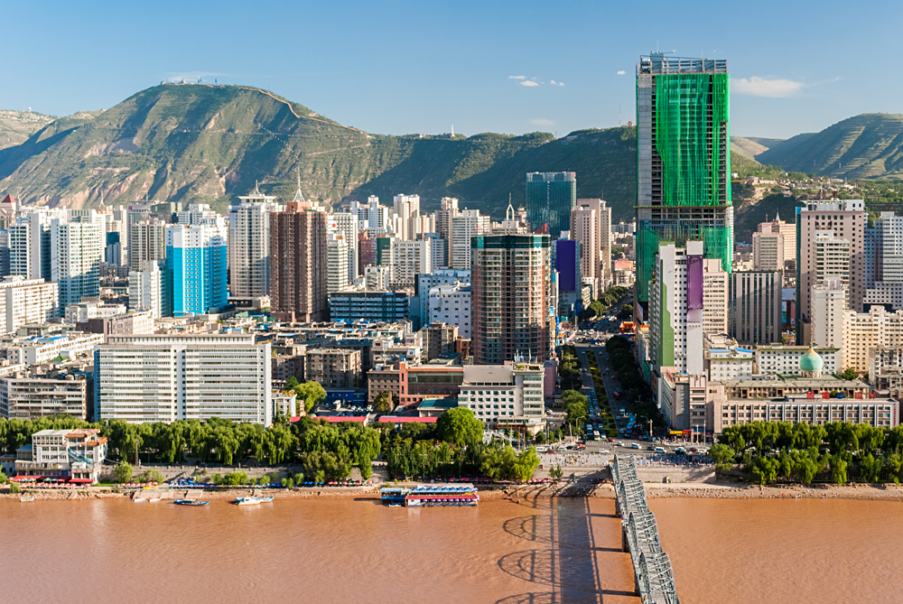 Panoramic view of the Downtown Area of Lanzhou, China
