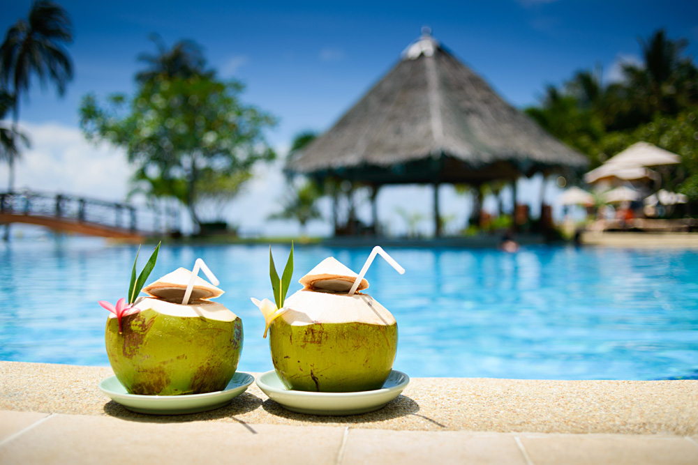 Pina Coladas Poolside in Tahiti (French Polynesia)