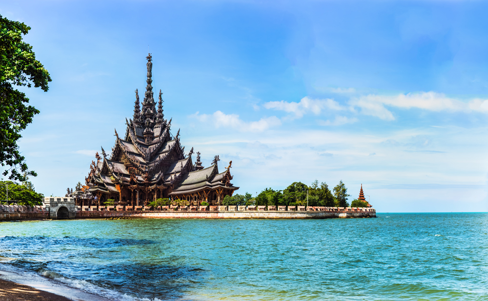 Sanctuary of Truth ancient wooden temple in Pattaya, Thailand