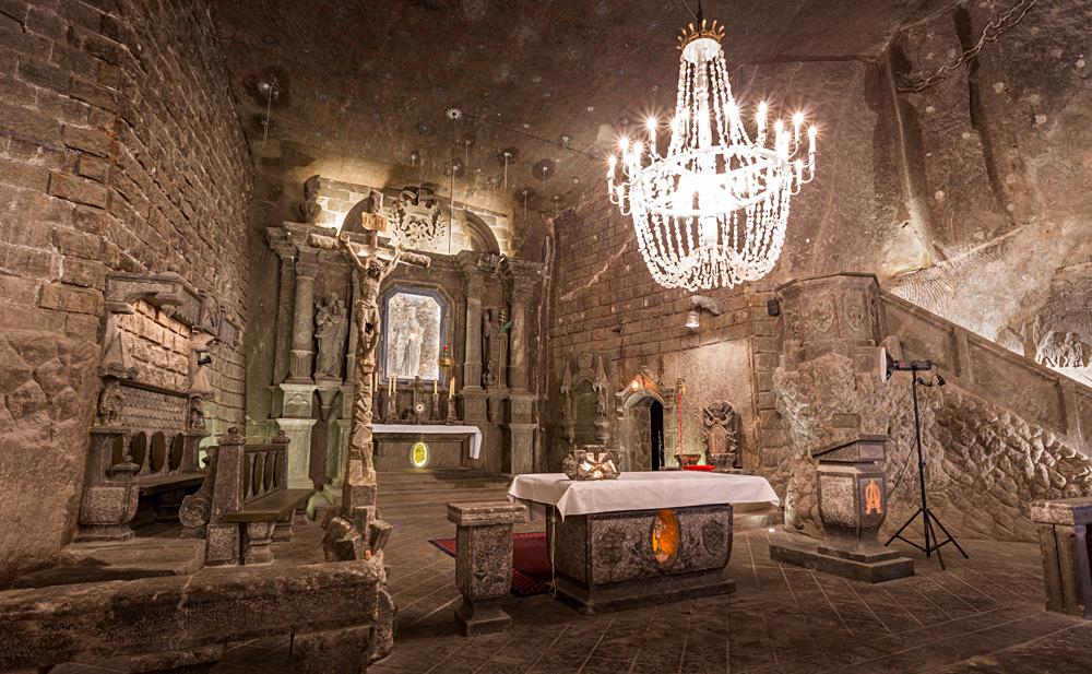 St Kinga's Chapel, deep in Wieliczka Salt Mine, Krakow, Poland