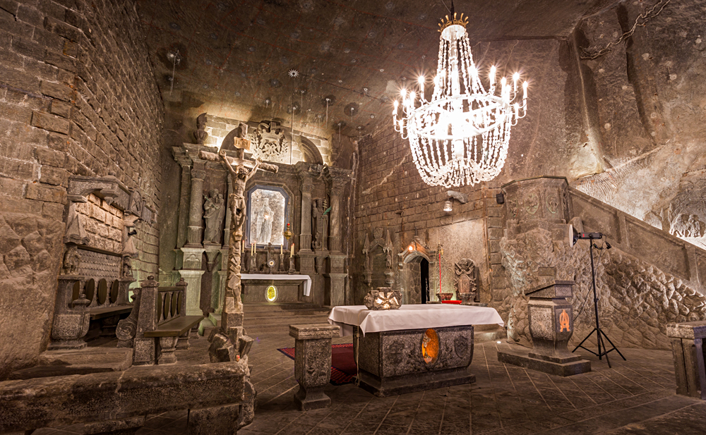 St Kinga's Chapel, deep in Wieliczka Salt Mine, Krakow, Poland