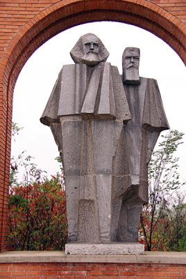 Statue of Karl Marx and Friedrich Engels in Memento Park in Budapest, Hungary