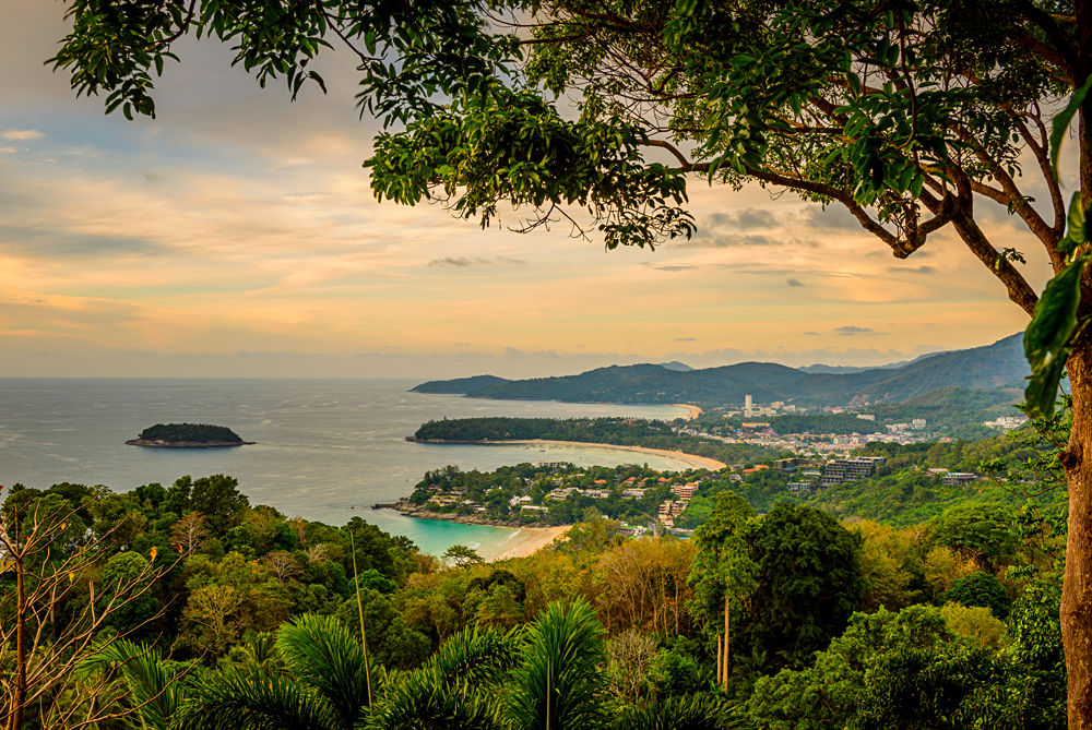 Sunset View of Karon Beach and Kata Beach from Karon Viewpoint, Phuket, Thailand