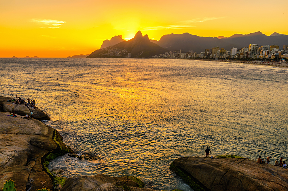 Sunset on Ipanema beach and mountain Dois Irmao (Two Brother) seen from Aproador, Rio de Janeiro, Brazil