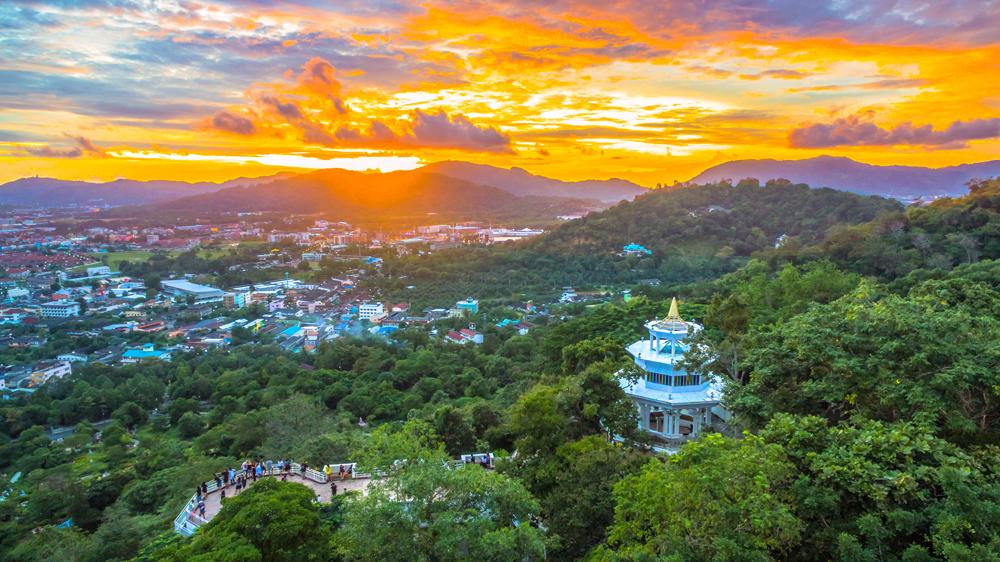 Sunset view from Khao Rang Hill Viewpoint, Phuket, Thailand