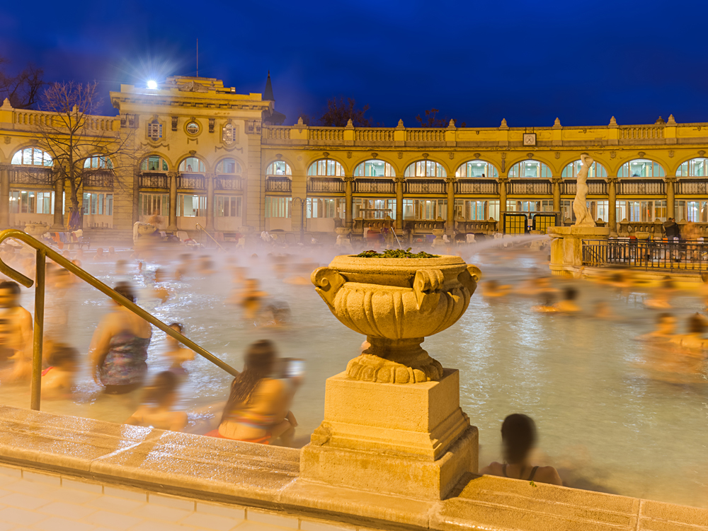 Szechnyi thermal bath spa in Budapest, Hungary