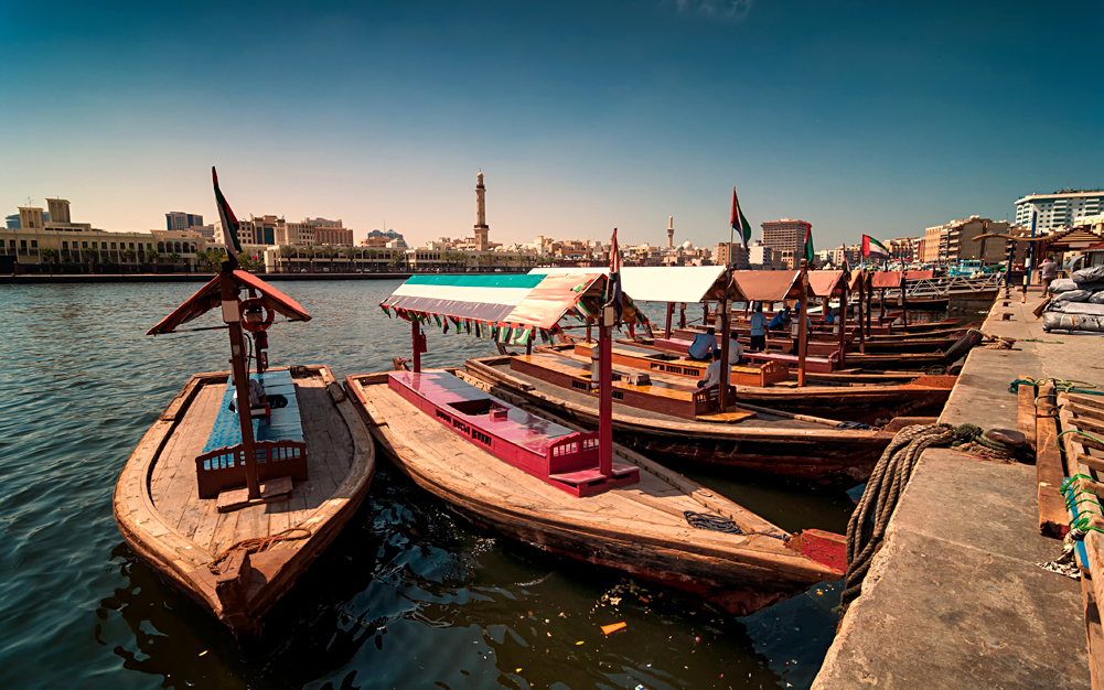 Traditional Abra taxi boats in Dubai Creek, Dubai Deira, United Arab Emirates (UAE)