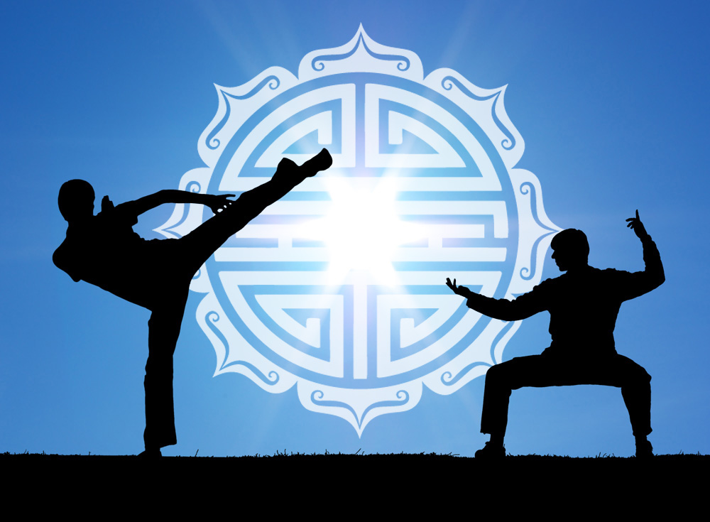 Two martial arts warrior silhouettes on the sun background with Shou Symbol