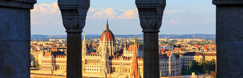 View from Fisherman's Bastion of the Danube and Hungarian Parliament Buildings, Budapest, Hungary