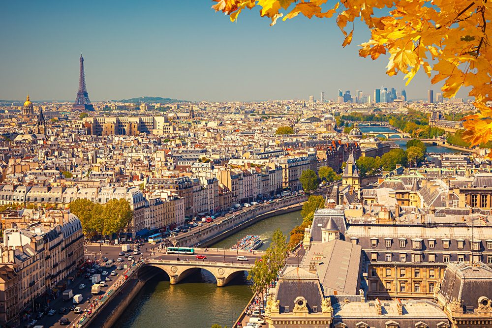 View of Paris from Notre Dame in Autumn, France