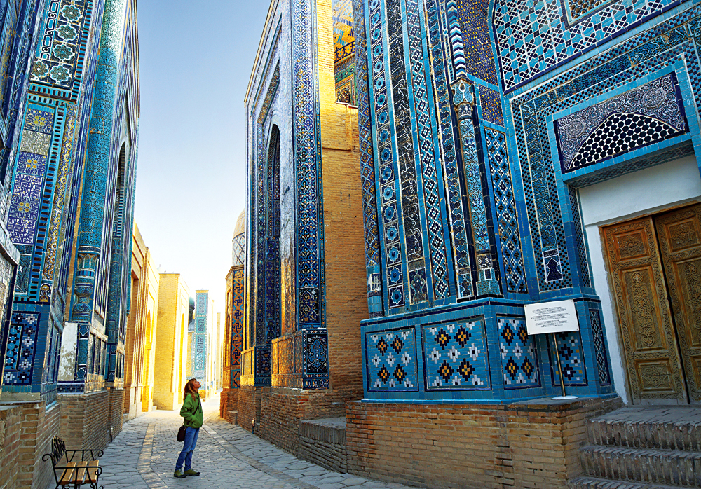 A Walk Through Samarkand Alley in Shah i Zinda, Uzbekistan