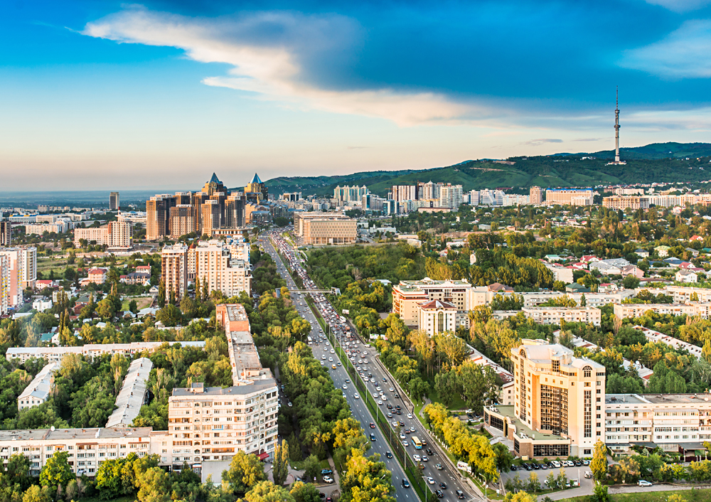 Aerial view of Almaty city, Kazakhstan