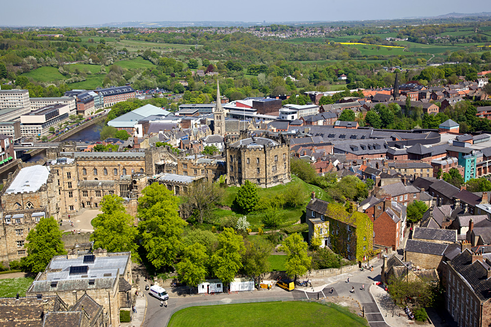 Aerial view of Durham Castle in Durham, England, UK (United Kingdom)