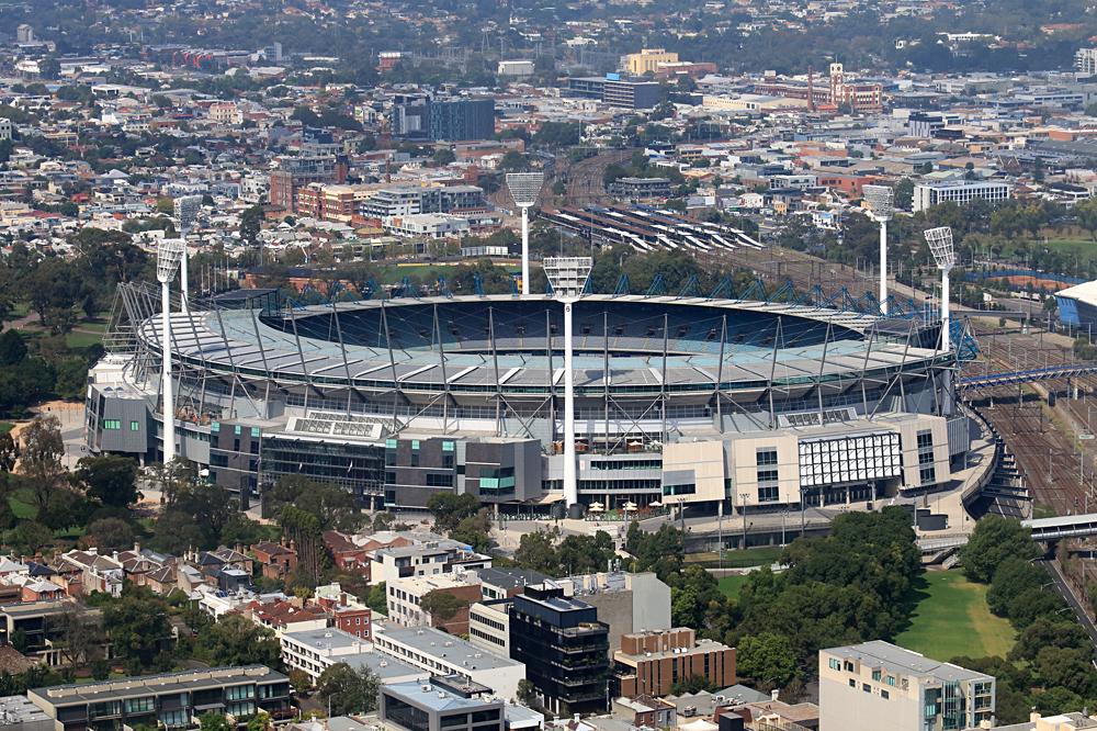 Aerial view of Melbourne Cricket Ground in Richmond, Melbourne, Victoria, Australia