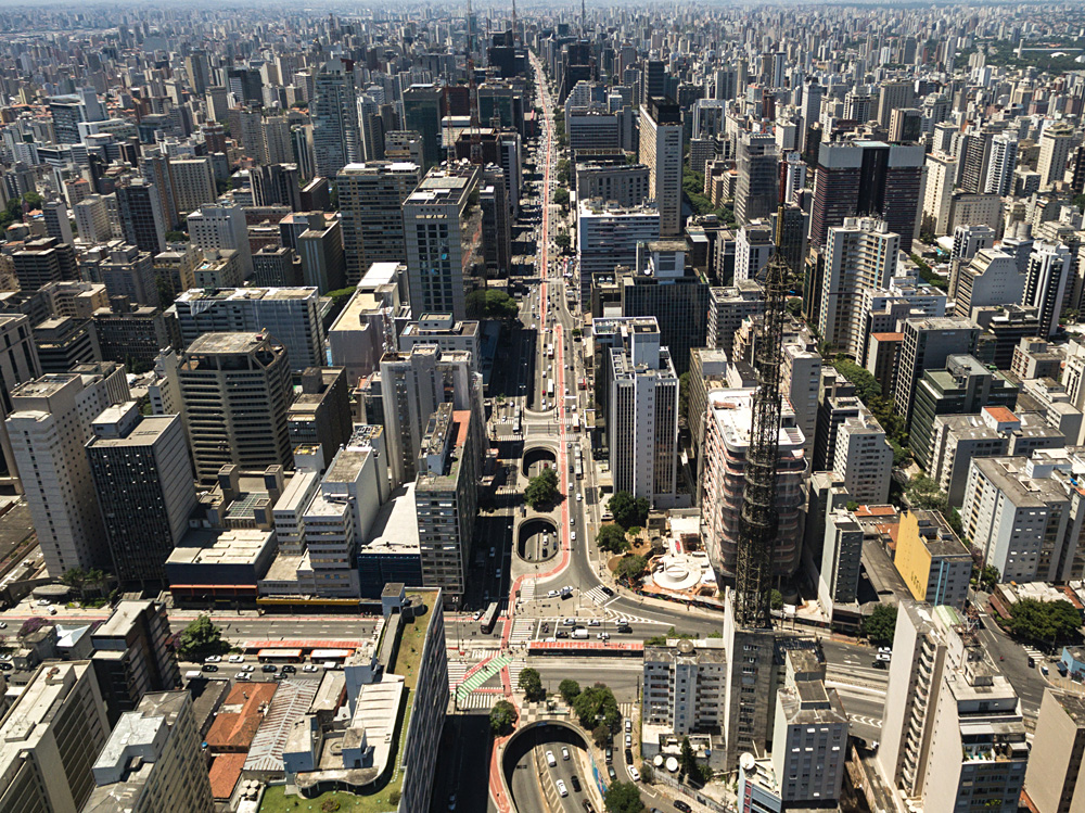 Aerial view of Paulista Avenue in Sao Paulo, Brazil