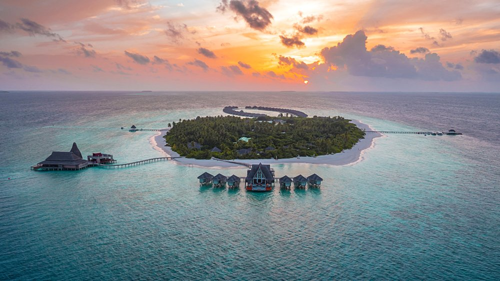 Anantara Kihavah Maldives Villas - Aerial View of Baa Atoll Island Sunset