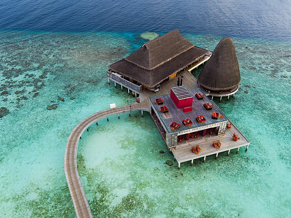 Anantara Kihavah Maldives Villas - Aerial View of Dining Complex