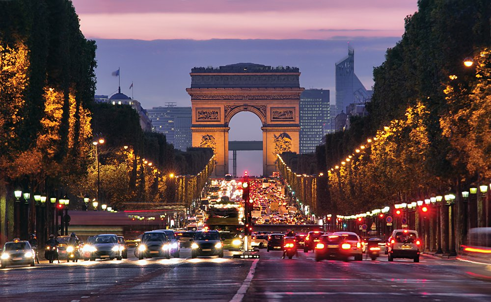 Champs-Elysees at Night, Paris, France