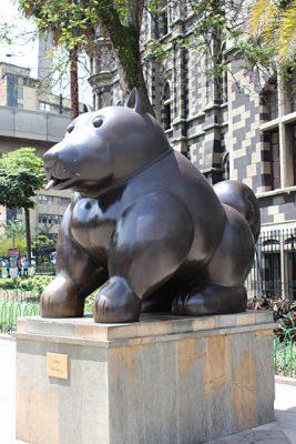 Emma Cottis - Fernando Botero's Perro Dog Sculpture in Medellin, Colombia