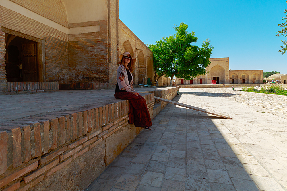 Female Tourist in ancient city of Bukhara, Uzbekistan