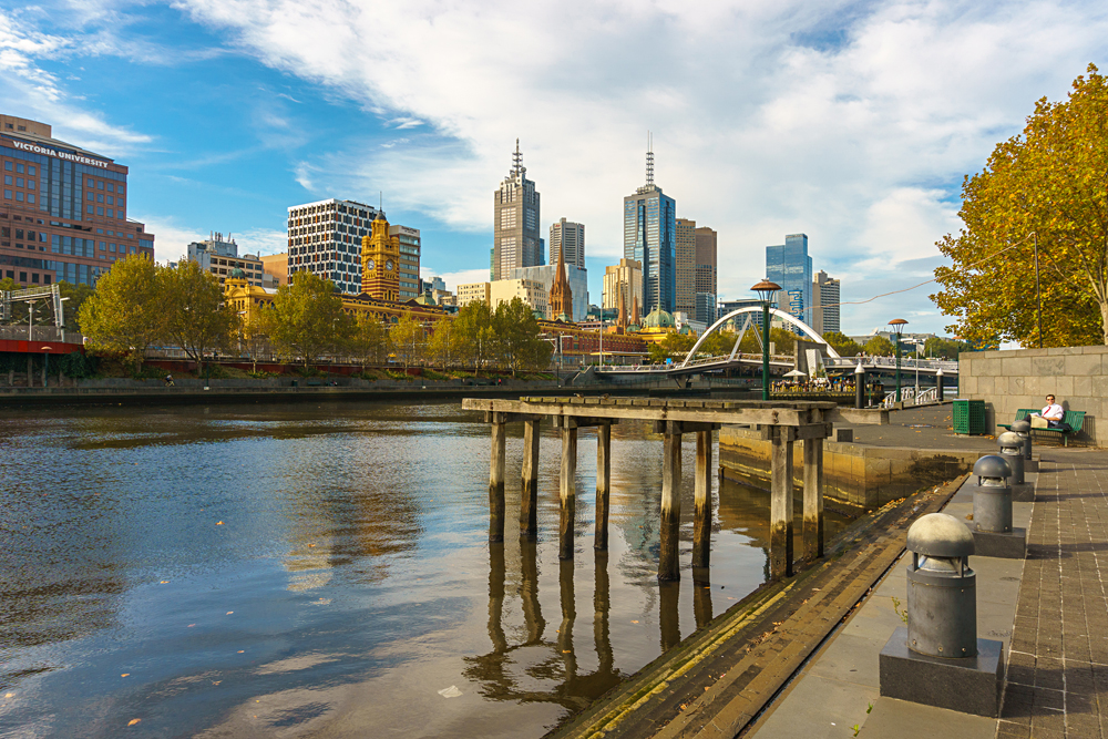 Melbourne Central Business District as viewed from across Yarra River in South Yarra. Melbourne, Victoria, Australia