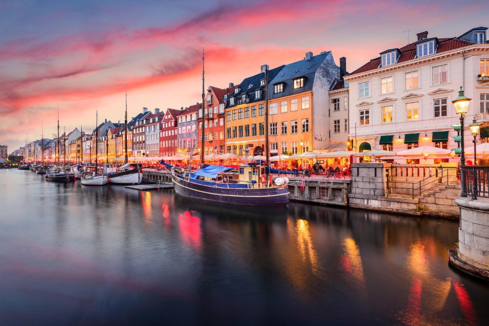Nyhavn Canal at sunset, Copenhagen, Denmark
