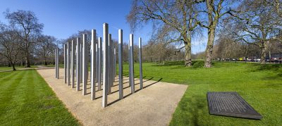 Panoramic view of the 7 July Memorial in Hyde Park, London, England, United Kingdom (UK)