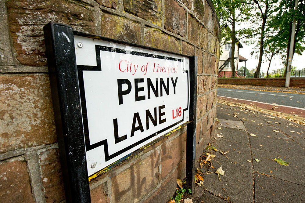 Penny Lane street sign at the bottom of Penny Lane Liverpool, England, UK (United Kingdom)