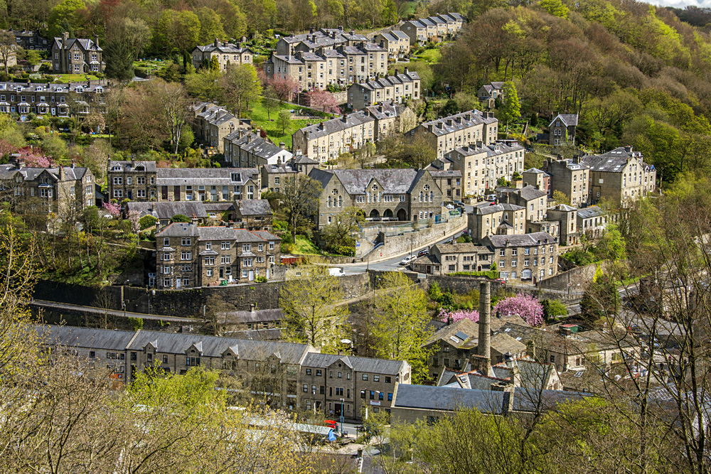 Pretty tourist town of Hebden Bridge in the South Pennine region of West Yorkshire, England, UK (United Kingdom)